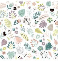 floral seamless pattern with flowers plants vector image