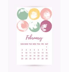 Freehand calendar 2020 february month vector