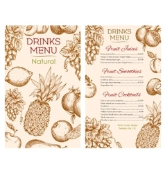 Fruit juice drinks menu of sketch fruits vector