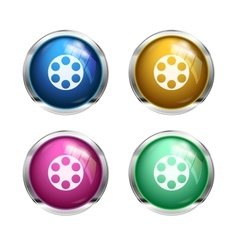 Glossy cinema buttons vector image