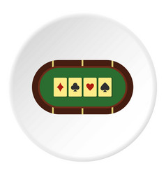 Green poker table icon circle vector