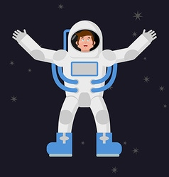 Happy astronaut in outer space Good cheerful vector