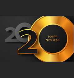 Happy new year 2020 banner with golden luxury text vector