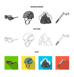 Helmet goggles wedge safety peaks in the clouds vector