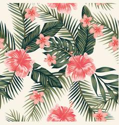Hibiscus plumeria leaves seamless background vector