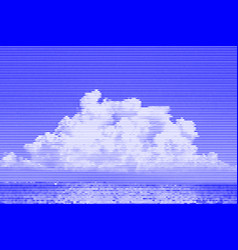 Image collage of sea and sky with white clouds vector