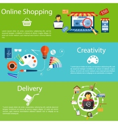 Internet shopping creativity and delivery vector image