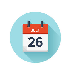 July 26 flat daily calendar icon date and vector
