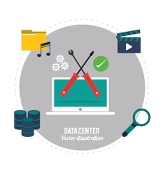 Laptop and icon set Data center design vector