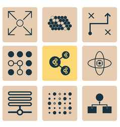 learning icons set with database data structure vector image