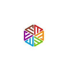 letter e or m logo design concept vector image