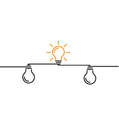 Light bulbs on wires effective and conceptual vector
