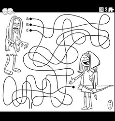 line maze with girls at costume party coloring vector image