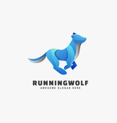 logo running wolf gradient colorful style vector image