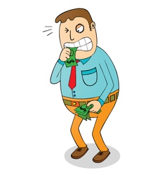 Man biting money vector