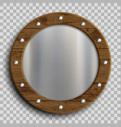metal plate in a wooden frame vector image