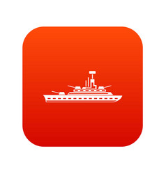 Military warship icon digital red vector