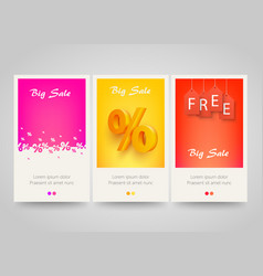 Modern colorful vertical banners with price labels vector