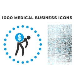 Money Courier Icon with 1000 Medical Business vector image
