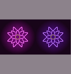neon lotus with backlight in purple and violet vector image