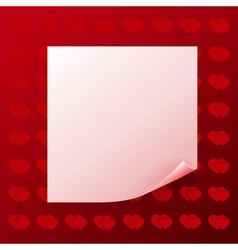 Note on red background with hearts vector image