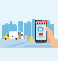 Online delivery service tracking online tracker vector