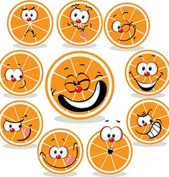 orange icon cartoon with funny faces isolated on vector image