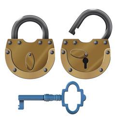 Padlock oldstyle heavy lock design vector