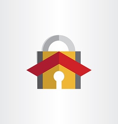 padlock with house rosecurity lock symbol vector image