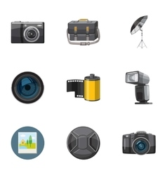 Photographic icons set cartoon style vector image