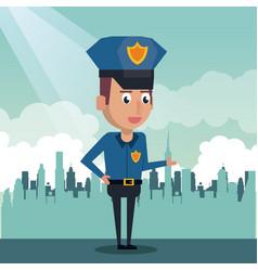policeman at the city cartoon vector image