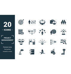 Project management icon set include creative vector