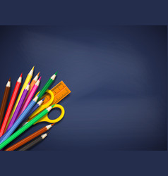 realistic school supplies on blackboard vector image