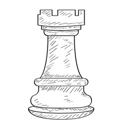 Retro sketch of a rook chess piece vector