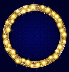 Round gold frame with lights on a dark background vector