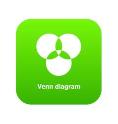 Round venn diagram icon green vector