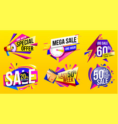 sale banner discount tag and sale label vector image