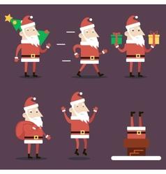 Santa Claus Cartoon Characters Set Poses Emotions vector image