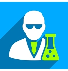 Scientist With Flask Flat Square Icon with Long vector image
