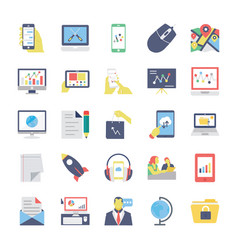 seo and marketing flat colored icons 4 vector image