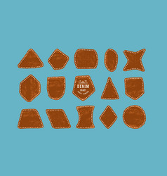 set leather patch for denim clothing vector image