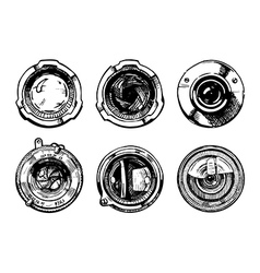 set of camera lens vector image