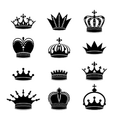 Set of crown silhouettes vector