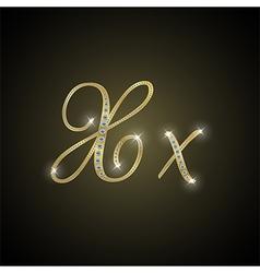 Shiny alphabet x gold and diamond vector
