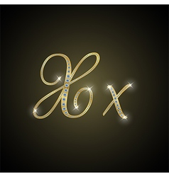 Shiny alphabet X of gold and diamond vector image
