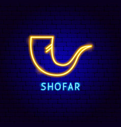 shofar neon label vector image