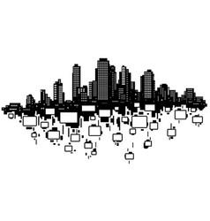 Skyline city rooms silhouette vector