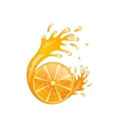 Slice of Orange with Splash vector image