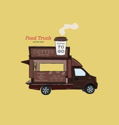 street coffee van food truck hand draw design vector image