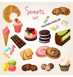 Sweets and pastry set vector